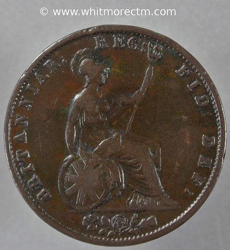 1855 British Copper Halfpenny Victoria Young Head