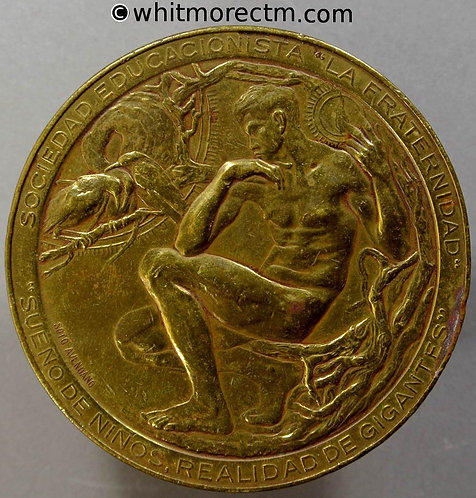 1927 Argentina 50th Anniversary of Sociedad Educacionista Medal 57mm Gilt Bronze obv