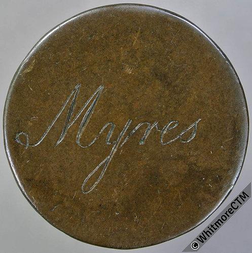 Countermarked Token 27mm engraved Myres (in script) / HO N Below - copper