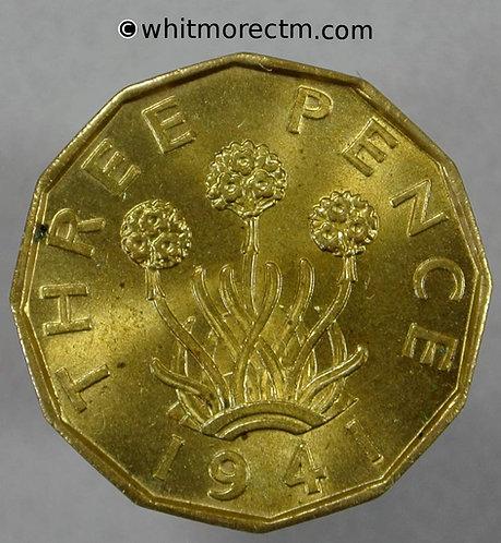1941 British Brass Threepence George VI 60% Luster