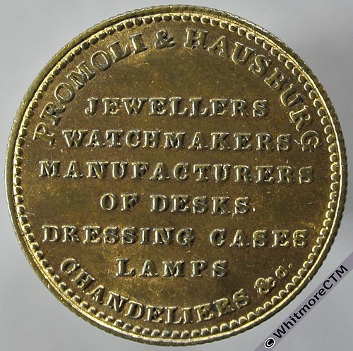 Liverpool Unofficial Farthing 2230 Promoli & Hausburg. Jewellers - Gilt brass