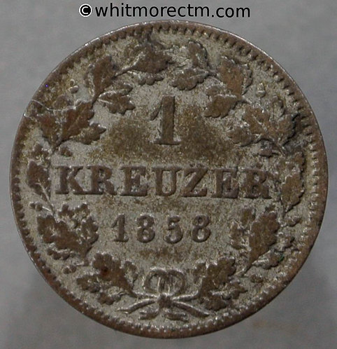 1858 Germany Bavaria C229 1 Kreuzer coin obv