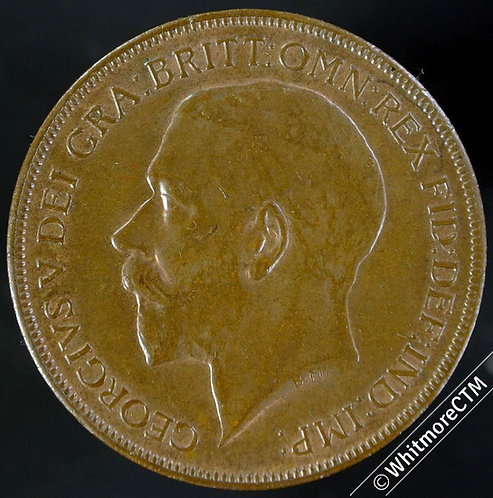 1922 British Bronze Penny George V 10% Luster