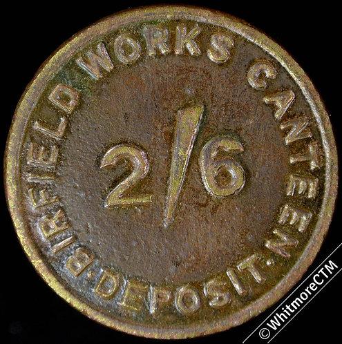 Refreshment Token London Birfield Works Canteen Deposit 2/6 Brass 37mm
