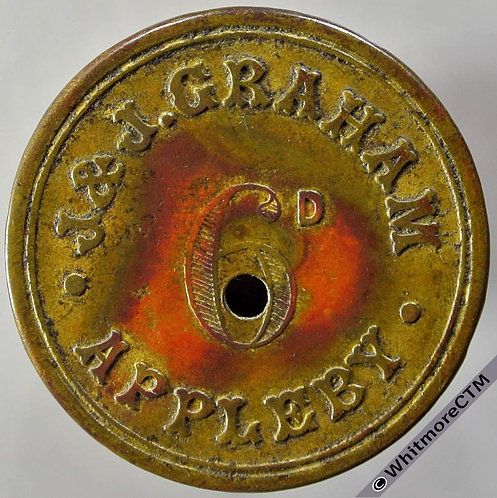 Appleby Value Stated Token J & S Graham 6D 27mm - Brass with central piercing