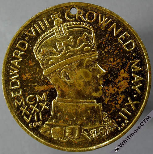 1937 Intended Coronation of Edward VIII Medal 36mm M214b by J.R.Gaunt Gilt brass