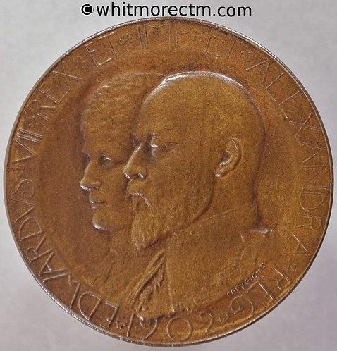 1902 Coronation Medal obv Edward VII & Alexandria 35mm B3771