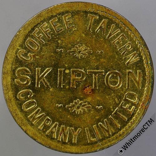 Skipton refreshment Token 26mm Coffee Tavern Company Limited / 1D.- Gilt Brass