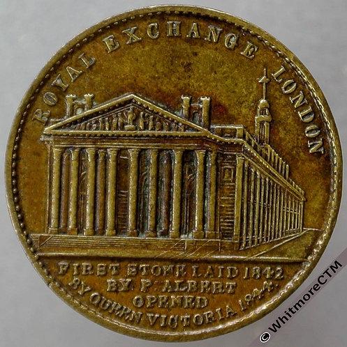 1844 Opening of Royal Exchange Medal 22mm B2175 Victoria & Albert. Brass