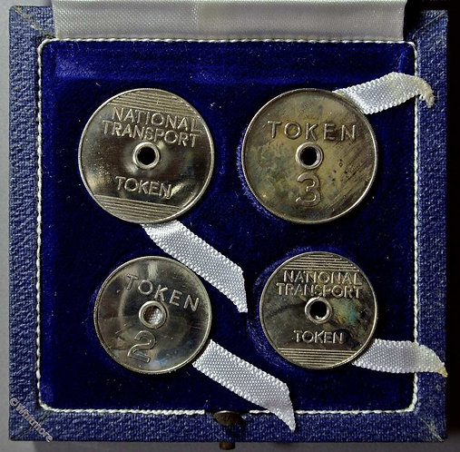 National Transport Token 3 (25mm) 2 (21mm) Two pairs cupronickel proofs Cased