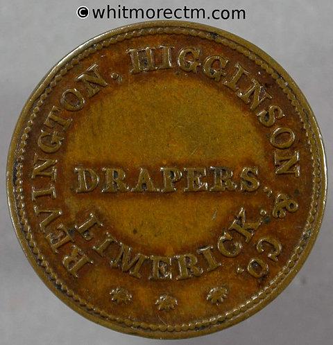 Unofficial Farthing Limerick 6570 1846 Revington, Higginson & Co. Drapers Rare