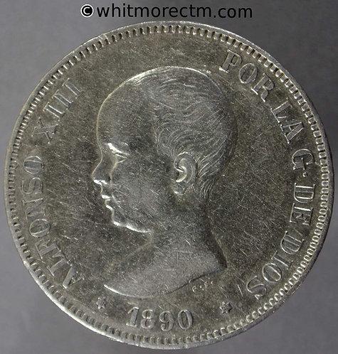 1890 Spain Crown MPM 5 Pesetas coin - Baby Head