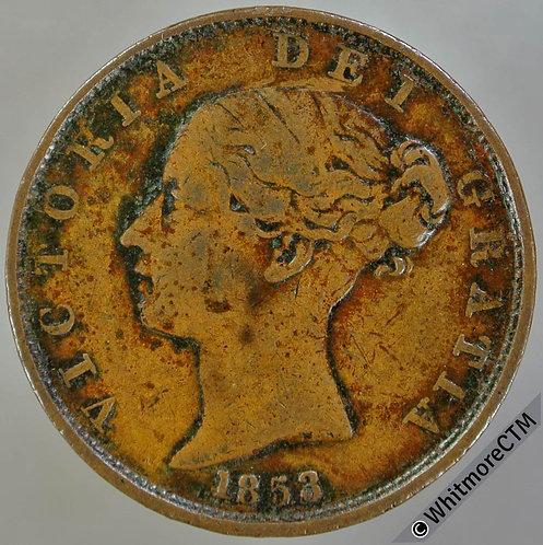 1853 British Copper Halfpenny Victoria Young Head