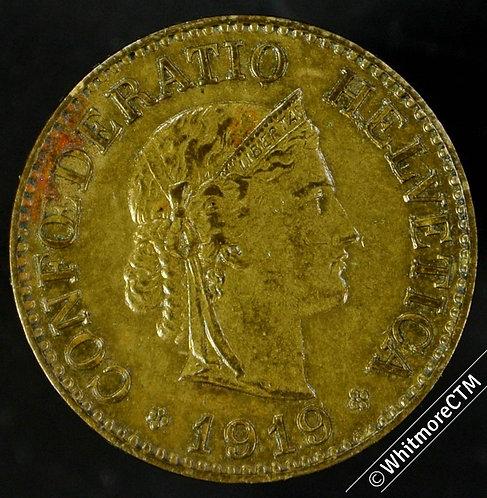 1919 Switzerland 10 Centimes - Brass