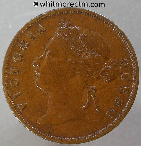 1874 Straits Settlements 1 Cent coin obv - Queen Victoria British Crown Colony