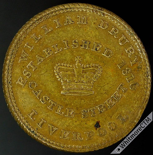 Unofficial Farthing Token Liverpool 2130b W. Drury. Castle St. Rare. Milled edge