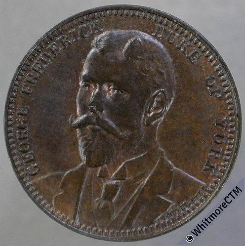 (1900) Suited Duke of York (George V) Medal 18mm Spade symbol - Bronze