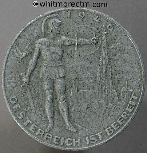 1946 Austria Liberation Calendar Medal 40mm By Hofmann. White metal 1