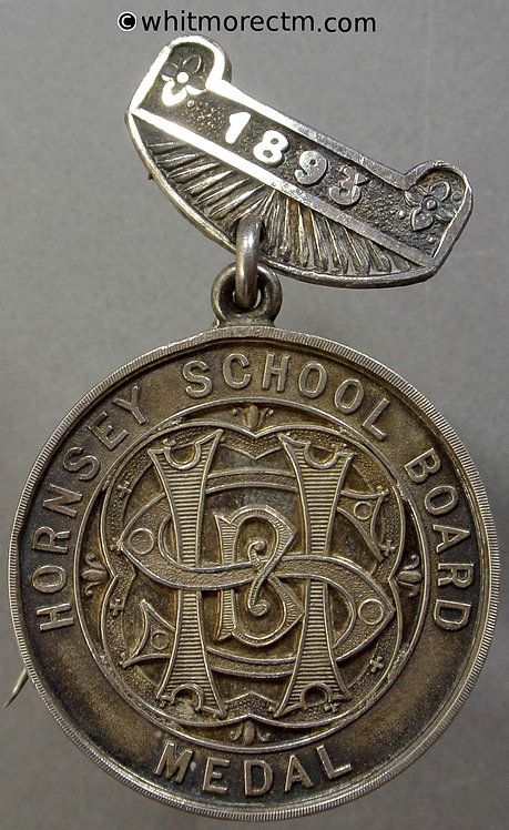 Hornsey 1893 School Board Attendance Medal 32mm D980 Silver with suspender