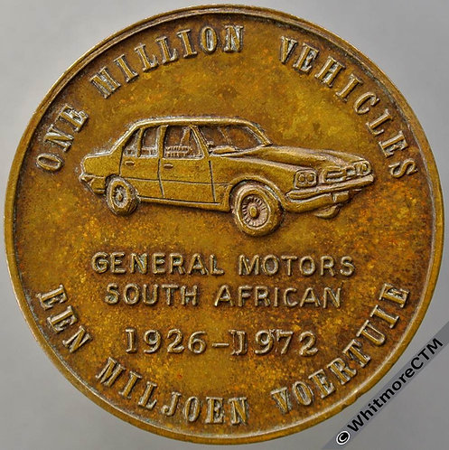 1972 South Africa General Motors Medal 38mm Car of 1926 and 1972. Bronze