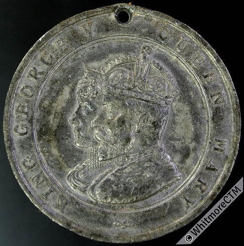 1911 George V Coronation Medal 38mm Not in Whittlestone. White metal