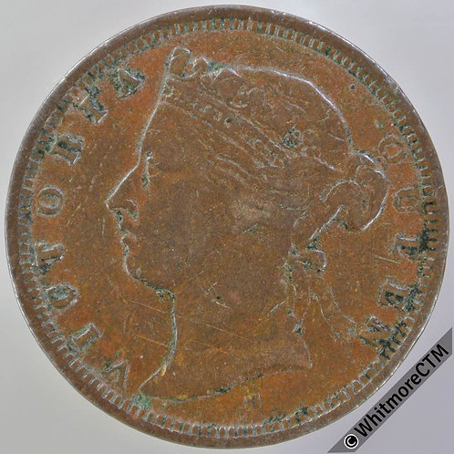 1872H Straits Settlements ½ Cent Y8 Queen Victoria British Crown Colony