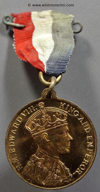1937 Intended Coronation Medal obv 32mm Edward VIII WE6572B ring ribbon & pin
