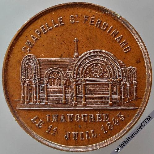 1843 France Duc D'Orleans Chapelle St Ferdinand Medal 24mm By G.T. Bronze