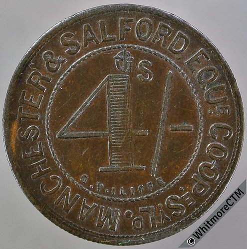 Co-Operative Society Token Manchester & Salford Eque. 26mm 4/-  By Iliffe Bronze