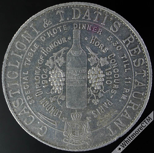 London G.Castiglioni & T. Datis Restaurant Refreshment Token 39mm Wright & Son
