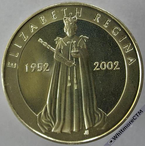 2002 Official Issue Golden Jubilee Queen Elizabeth Medal 39mm Gilt bronze obv