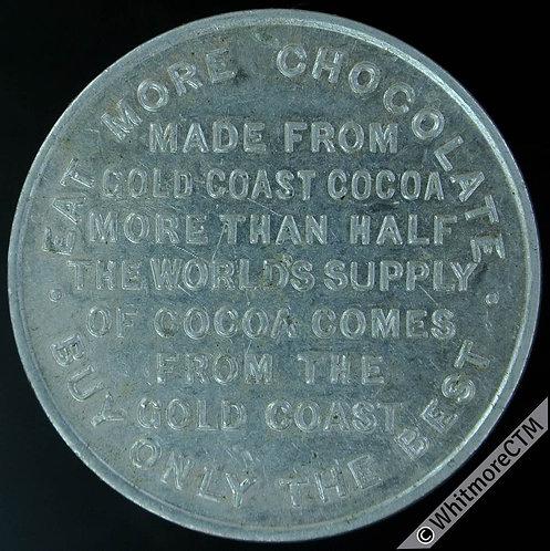 Africa Gold Coast Gana Drink more Cocoa Token 34mm Aluminium. Vice 16