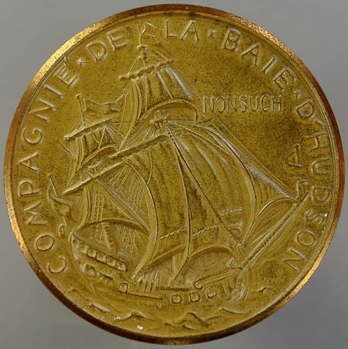 """Canada 1970 300th Anniversary of Hudsons Medal 45mm View of ship""""Nonsuch"""" Bronze"""