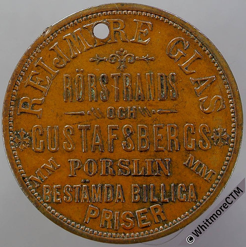 Sweden Stockholm Akerholmska Munkbro Token 29mm Reijmire Glas. Bronze. Pierced