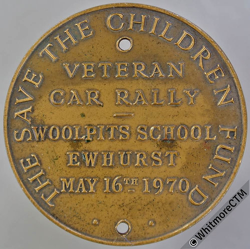 Ewhurst Woolpits School 1970 Save the Children Fund Veteran Car Rally Medal 38mm