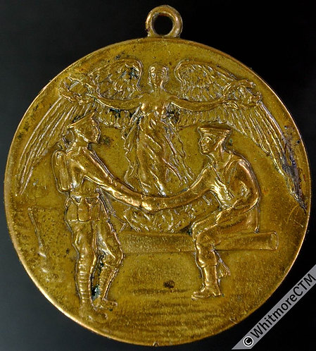 Bournemouth 1919 Peace Medal 32mm Sailor Soldier Angel - Gilt brass