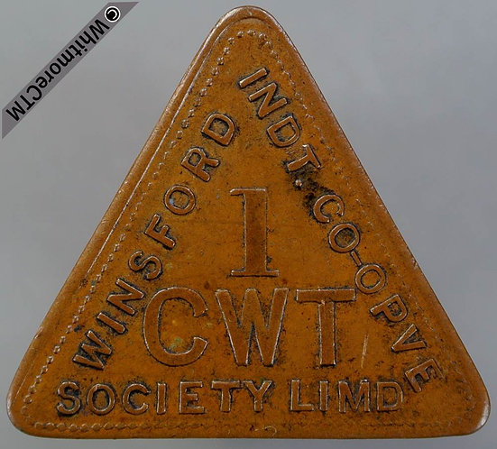 Winsford Co-Operative Society Token 31x28mm 1cwt. both sides Triangular Copper
