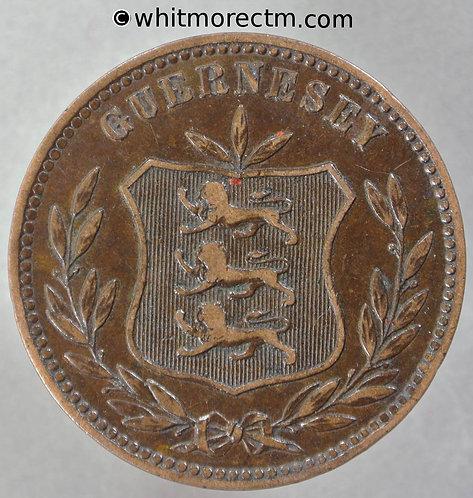 1893 Guernsey 8 Doubles coin obv 1893H E52