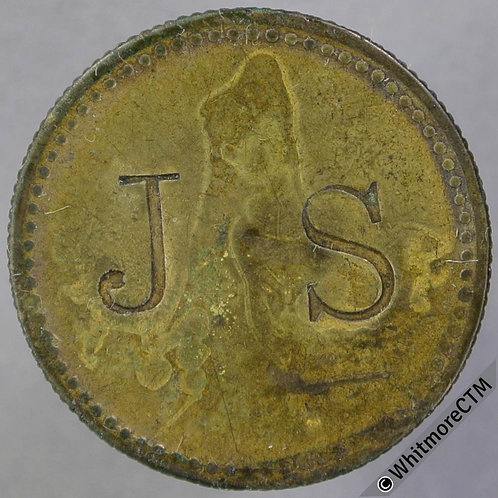 Value Stated Token 23mm J. S. - incuse / 1½D in wreath - Brass.