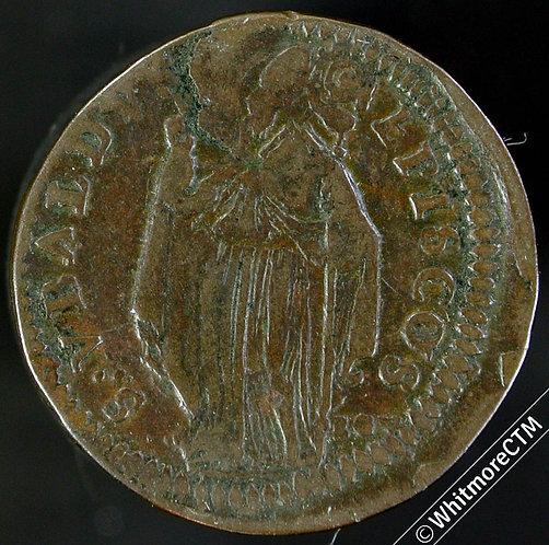 1722 Italy Papal States Quattrino Gubbio, Innocent XIII / St Ubaldus