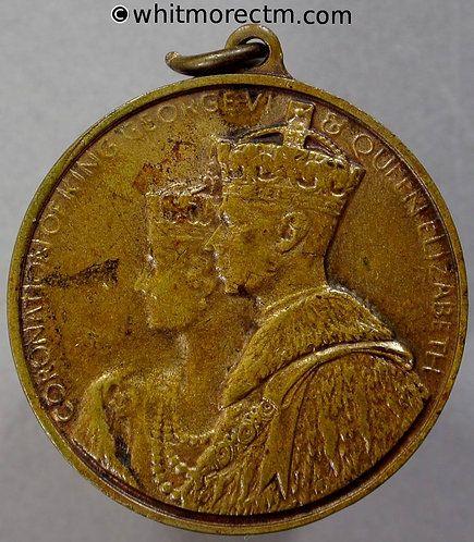 Redditch 1937 Coronation Medal obv 32mm George VI WE7334E Brass with suspender