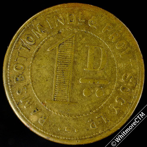 Co-Operative society token  Ramsbottom Ind. & Prov. 24mm 1D - Brass