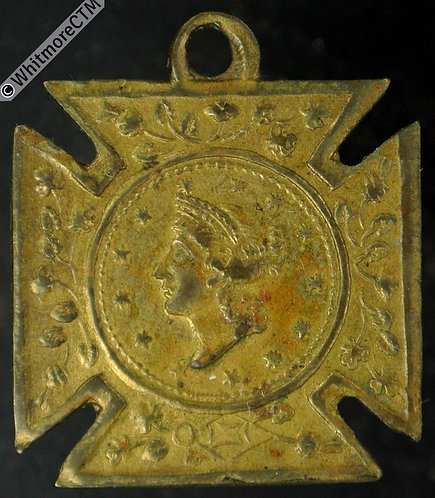 USA 1849 1 Dollar, copy of gold coin in cruciform miniature medal 21mm Brass