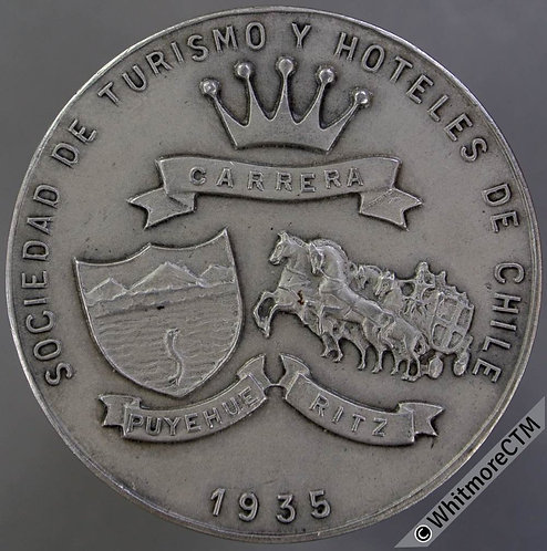 Chile/France/Britain Soc de Turismo y Hoteles 1947 Medal 38mm Silvered Bronze