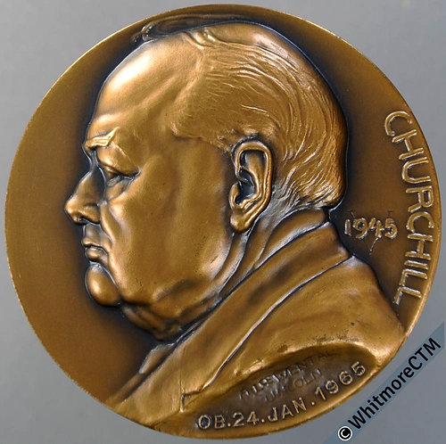 1965 Death of Churchill Medal 51mm Bronze By A.Loewental-Lincoln. Bronze