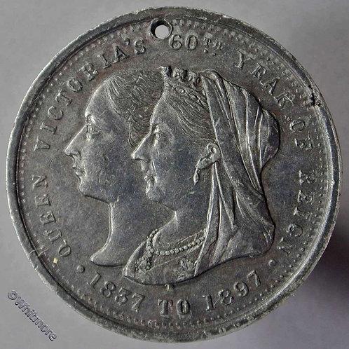 1897 Australia - Victoria Jubilee Medallion 31mm Not recorded in white metal obv