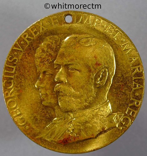 Grimsby 1911 Coronation Medal 35mm George V - Gilt brass Pierced