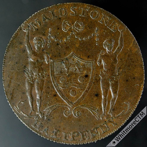 18th Century Halfpenny Maidstone 37 1795 Arms / Padsole Paper Mill.  Milled edge