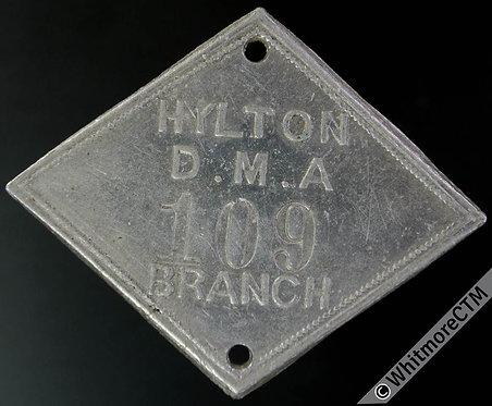 Ticket Pass Token Hylton Durham Miners Assn Branch 43x35mm diamond-shaped Alum