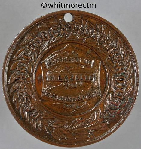 East Ham 1904 Education Authority Medal 39mm to W. Lazelle - Bronze Pierced